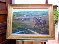 Military Oil Painting of Kings 8th Royal Irish Hussars Regiment & Commanding Officer On Horseback C.1897