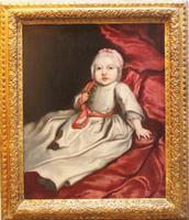 17th Century Oil Portrait Painting of 'Baby with Coral Teether' Studio of Mary Beale c.1690