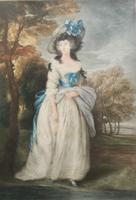 Fine Engraving of 18th Century Society Lady After Portrait Paintings by John Hoppner