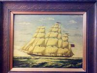 Seascape Oil Painting of 'Clipper Saling in Choppy Seas' (2 of 4)