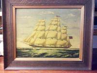 Seascape Oil Painting of 'Clipper Saling in Choppy Seas' (4 of 4)