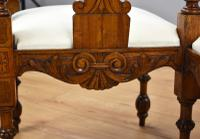 Victorian Mahogany Ornately Carved Love Seat (9 of 10)