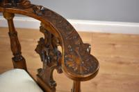 Victorian Mahogany Ornately Carved Love Seat (7 of 10)