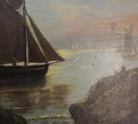 Victorian Marine Painting. Fishing Lugger, Mouth of the Tamar, Devon (5 of 7)