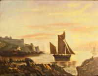 Victorian Marine Painting. Fishing Lugger, Mouth of the Tamar, Devon