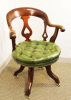 Victorian Mahogany and Leather Swivelling Desk Chair