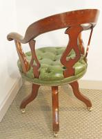 Victorian Mahogany and Leather Swivelling Desk Chair (6 of 7)