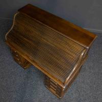 Edwardian Oak Roll Top Desk (5 of 11)