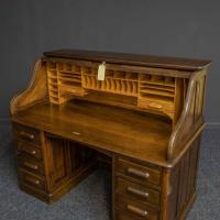 Edwardian Oak Roll Top Desk (3 of 11)