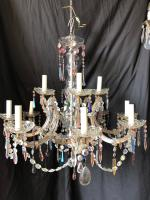Twelve Light Italian Marie Theresa Chandelier with Coloured Crystals