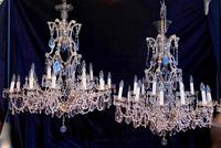 Near Pair of Large Italian Marie Theresa Chandeliers