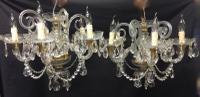 Pair of Bohemian All Glass Chandeliers