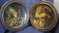 Framed Pair of Toleware Plates Depicting Horses & Dogs