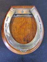 Antique English Oak & Brass Horseshoe Letter Clip