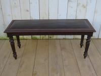 Antique Oak & Leather Hall Bench (4 of 8)
