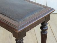 Antique Oak & Leather Hall Bench (3 of 8)