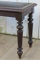 Antique Oak & Leather Hall Bench (6 of 8)