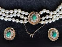 9ct Gold Set / Necklace & Earrings / Pearls & Australian Chrysoprase 1966 (3 of 14)