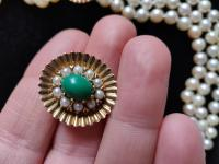 9ct Gold Set / Necklace & Earrings / Pearls & Australian Chrysoprase 1966 (8 of 14)