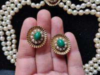 9ct Gold Set / Necklace & Earrings / Pearls & Australian Chrysoprase 1966 (4 of 14)