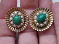 9ct Gold Set / Necklace & Earrings / Pearls & Australian Chrysoprase 1966 (7 of 14)
