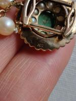 9ct Gold Set / Necklace & Earrings / Pearls & Australian Chrysoprase 1966 (9 of 14)