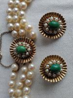 9ct Gold Set / Necklace & Earrings / Pearls & Australian Chrysoprase 1966 (2 of 14)