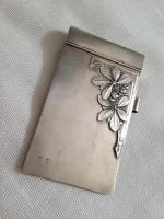 Antique Russian Sterling Silver Art Deco Note Pad Holder Cover Engraved, 1920s