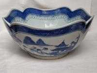 Antique Chinese Pottery Square Scallop Corners Hand Painted Blue White Bowl 19th Century