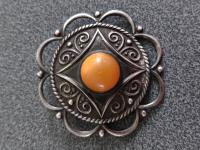 Antique Latvian Solid Silver Sakta Brooch with Butterscotch Amber Stone c.1950