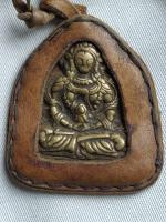 Brass Tibetan Plague Sitting Buddha Thogchag Portable Ghau Prayer Amulet