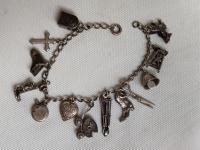 Vintage Sterling Silver Charm Bracelet / 13 Charms / 20 Grams / USA 1950s-1960s