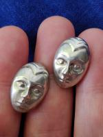 Vintage Modernist Sterling Silver 925 Earrings Face / Mask Convex Buttons