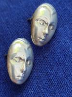 Vintage Modernist Sterling Silver 925 Earrings Face / Mask Convex Buttons (2 of 7)