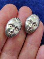 Vintage Modernist Sterling Silver 925 Earrings Face / Mask Convex Buttons (3 of 7)