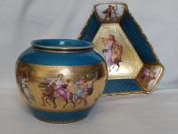 Antique Austrian Corinth Porcelain Vase & Serving Dish / Plate c.1900