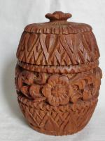 Hand Carved Wood Carving Tobacco Jar Box in Merbau Mahogany Indonesia (3 of 9)