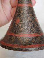 Old Anglo Indian Brass Engraved and Enamel Candle Holder/ Trumpet Vase circa 1930s (8 of 11)
