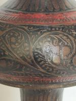 Old Anglo Indian Brass Engraved and Enamel Candle Holder/ Trumpet Vase circa 1930s (3 of 11)
