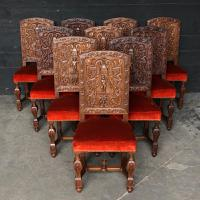 Rare Set of 10 Renaissance Walnut Dining Chairs