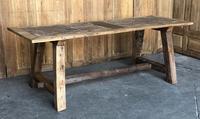 Primitive Early Oak & Walnut Farmhouse Dining Table