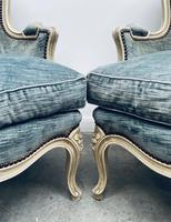 Pair of French Upholstered Bergere Armchairs (4 of 12)