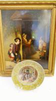 Oil Painting After Webster the Truant & Prattware Plate Same Title