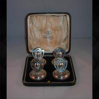 Four Silver Menu Holders Cased 1911