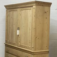 Large Old Dutch Pine Linen Press with Drawers (4 of 10)
