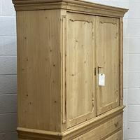 Large Old Dutch Pine Linen Press with Drawers (6 of 10)