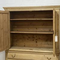 Large Old Dutch Pine Linen Press with Drawers (10 of 10)
