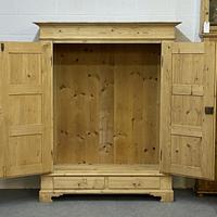 Antique Double Pine Wardrobe with Bottom Drawers 'Dismantles' (2 of 8)