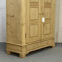Antique Double Pine Wardrobe with Bottom Drawers 'Dismantles' (6 of 8)