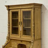 Large Partly Glazed Antique Pine Secretaire (4 of 11)